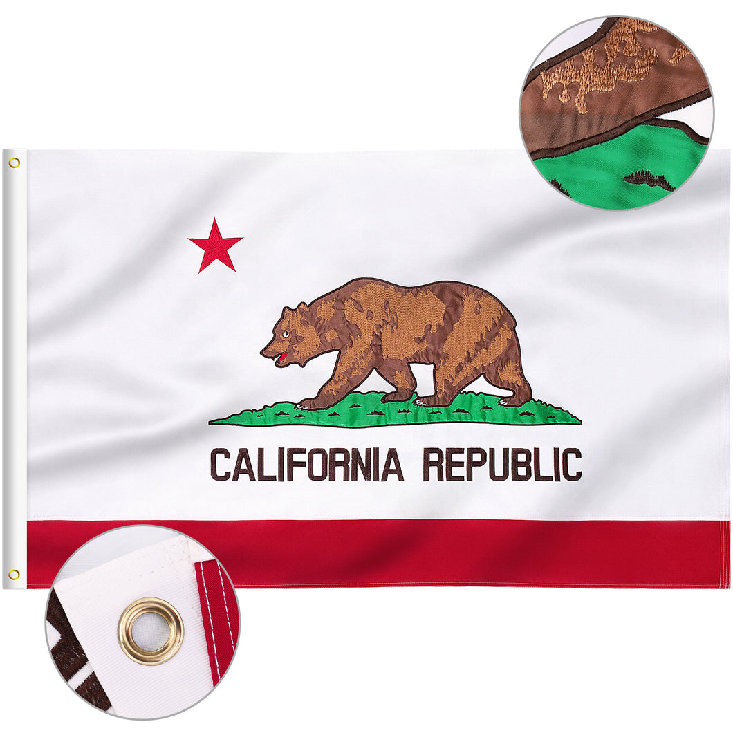 FLAGBURG California State Flag, Long Lasting California Republic State Flag with Heavy Duty Embroidered and Brass Grommets, Vibrant Color, UV Fade Resistant, CA Bear Flag for Outdoor Indoor
