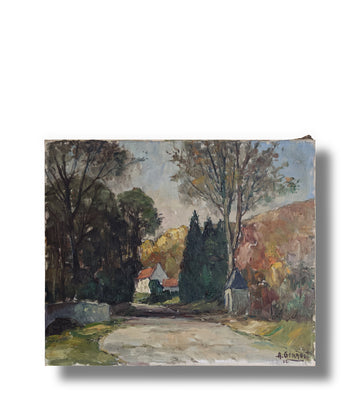 vintage landscape oil painting france french countryside