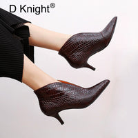 V-mouth  Snake Patent Leather Ankle Boots - Kakas-collection