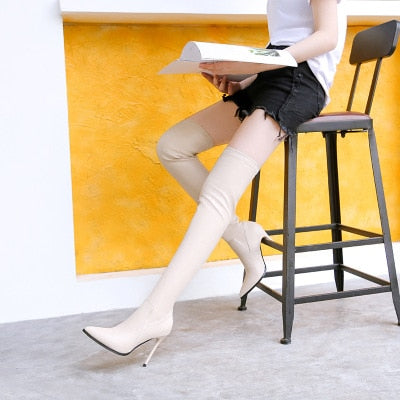 sexy over-the-knee stovepipe boots for women