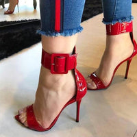 open toe ankle buckle strap  party shoes