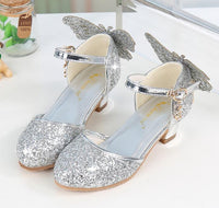Princess Glitter Butterfly Knot Leather Shoes For Girls kids