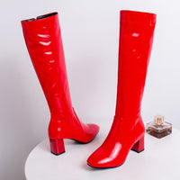 Patent Leather High Knee Boots  for women