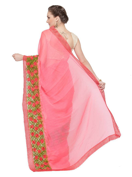 Multicoloured Solid Chiffon Saree