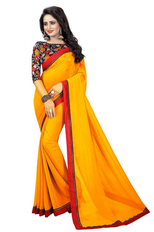 Yellow Georgette Saree With Blouse Piece