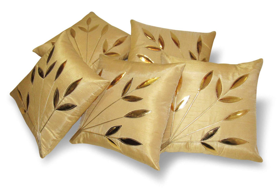 Beige Set Of 5 Poly Dupion Cushion Covers 30X30 Cm (12X12)