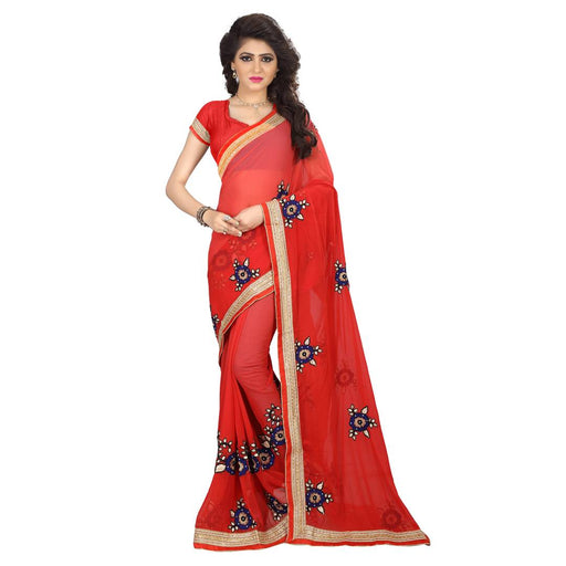Red Embroidered Georgette Saree With Blouse Piece