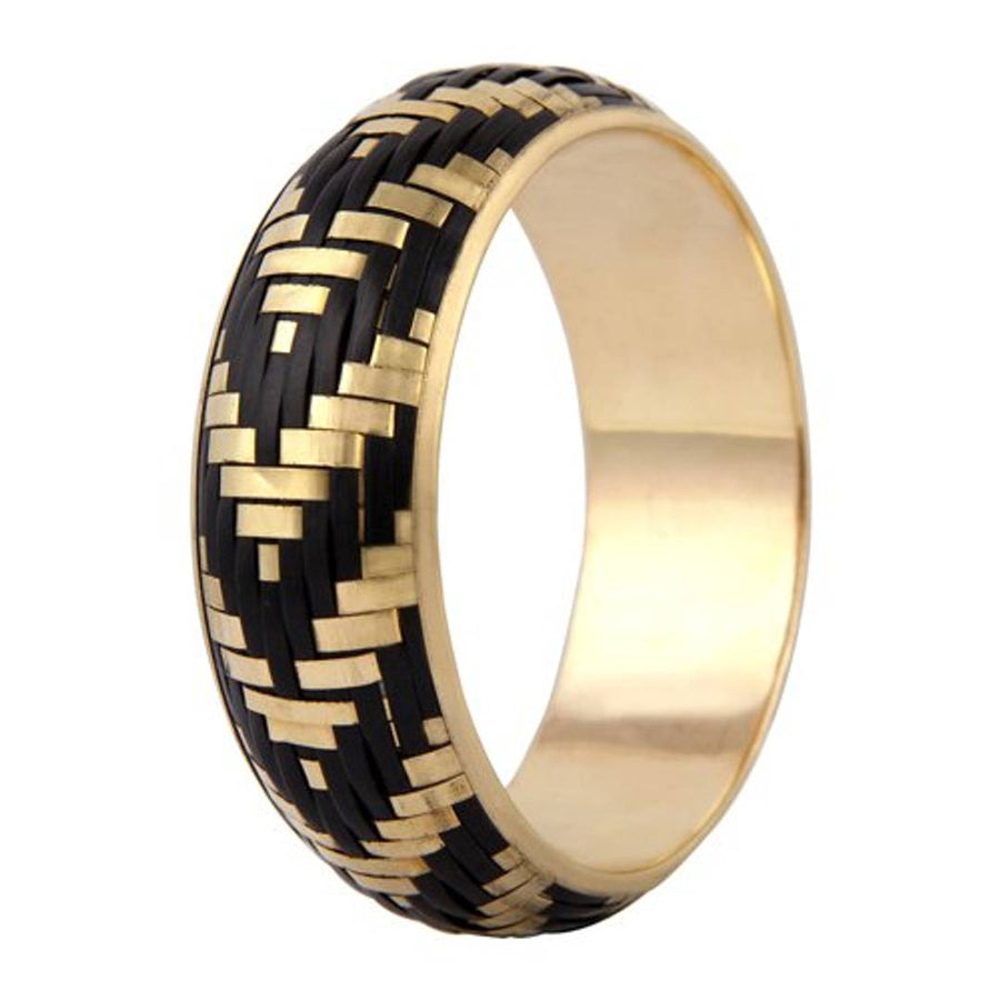 Black Set Of Five Brass Designer Bangles