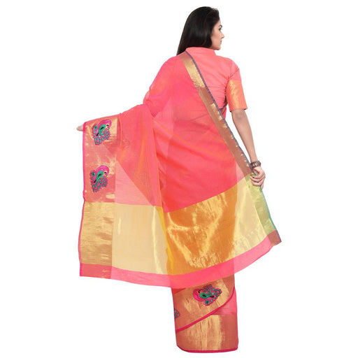 Women's embroided kota doria cotton saree with unstitched blouse piece