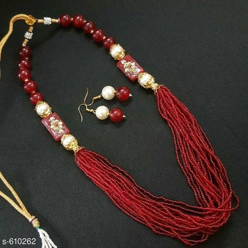 Maroon American Diamond Antique Jewellery set