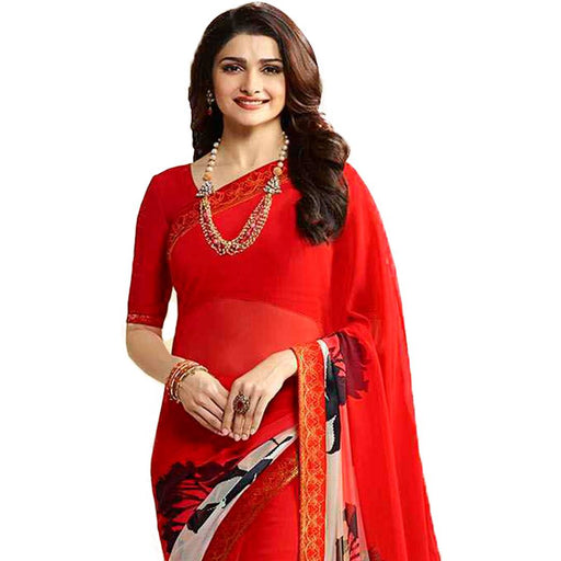 Red Printed  Georgette Saree with Blouse piece