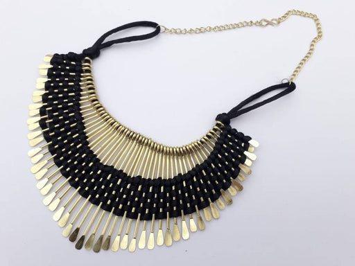 Black Fabric Tribal Necklace