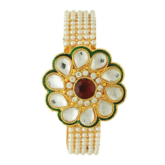 Gold Plated American Diamond Beautiful Flower Shape Bracelet For Girl & Women