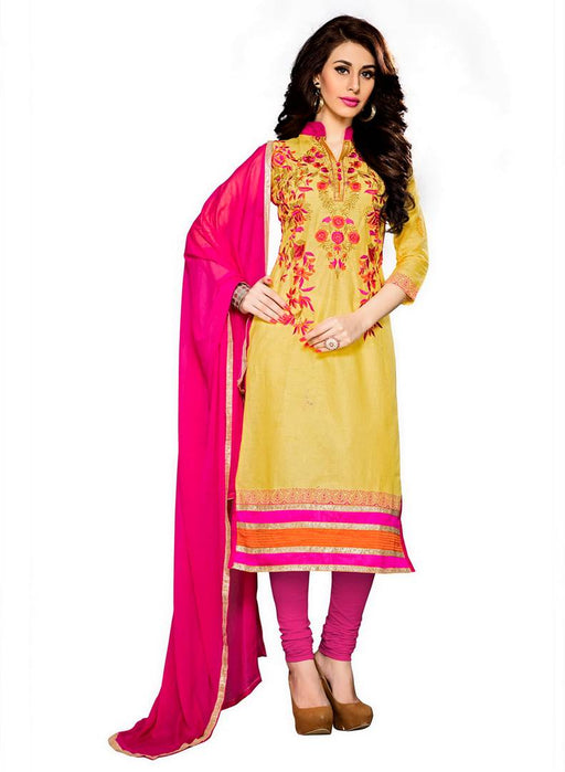 Yellow Straight Suit Thread Work Faux_Cotton Dress Material
