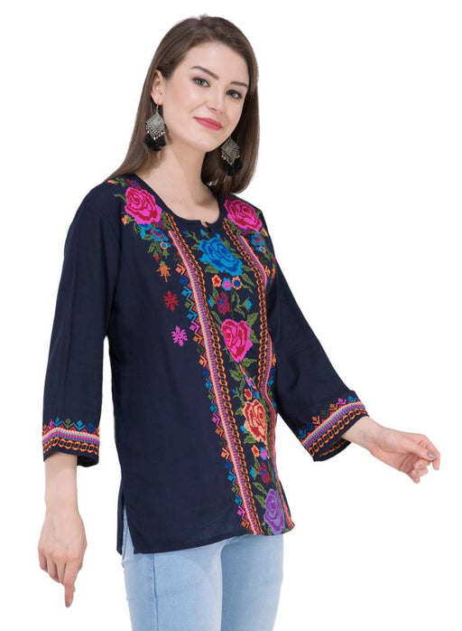 Women's Rayon Navy Blue Embroidered Tunic Top