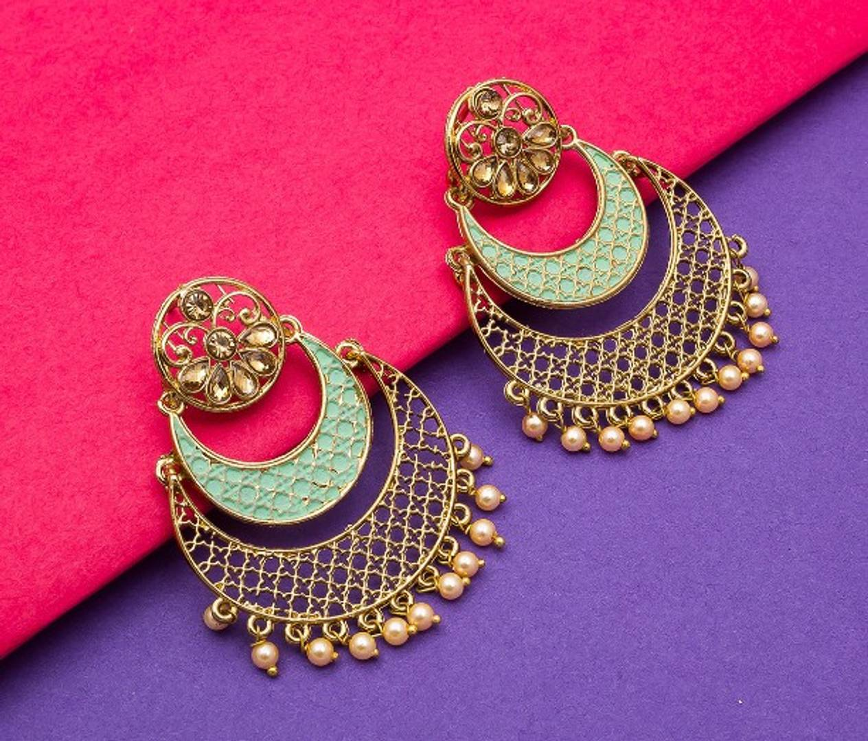 Kundan, Meenakari and Pearl Heavy Bridal Designer Earrings