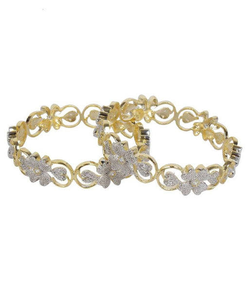 Gold Plated American Diamond Stylish Fancy Bangle Set