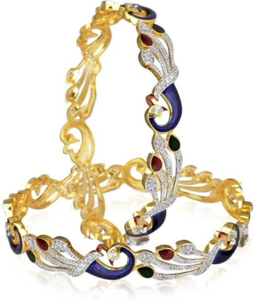 Gold Plated American Diamond Peacock Shape Bangle Bangle