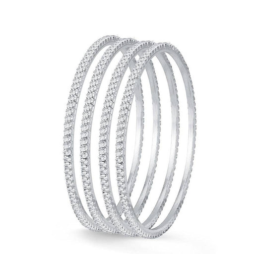 Silver Plated 4 Bangles Set For Women And Girls