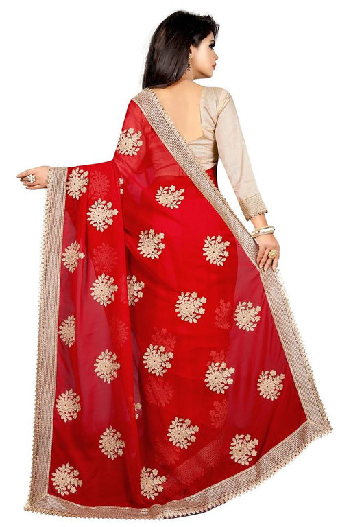 Red Georgette Embroidered Saree With Blouse Piece