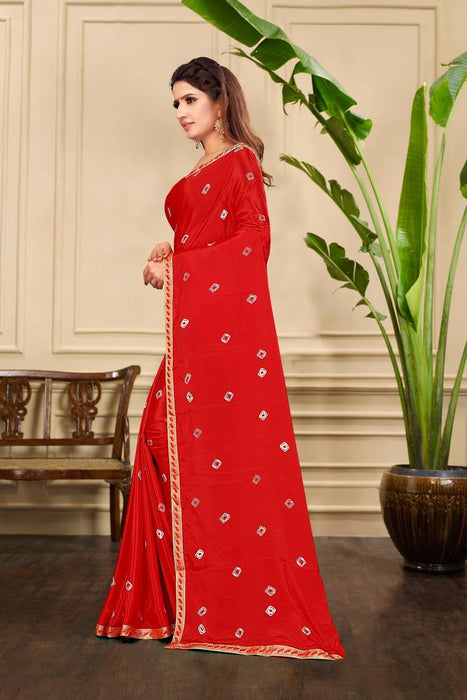 Red Art Silk Saree With Blouse Piece