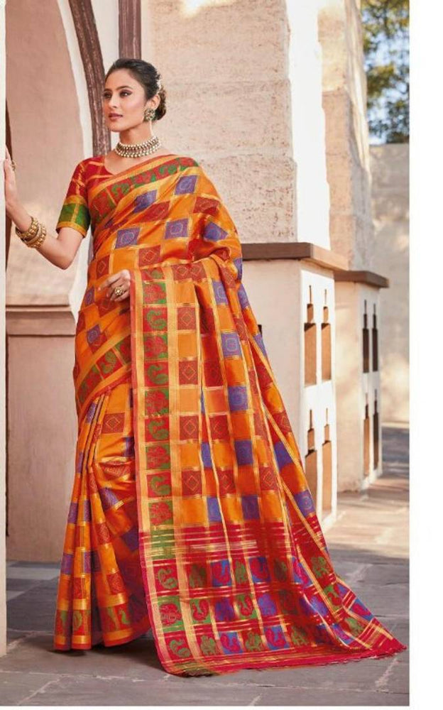 Multicoloured Poly Silk Jacquard Saree with Blouse piece
