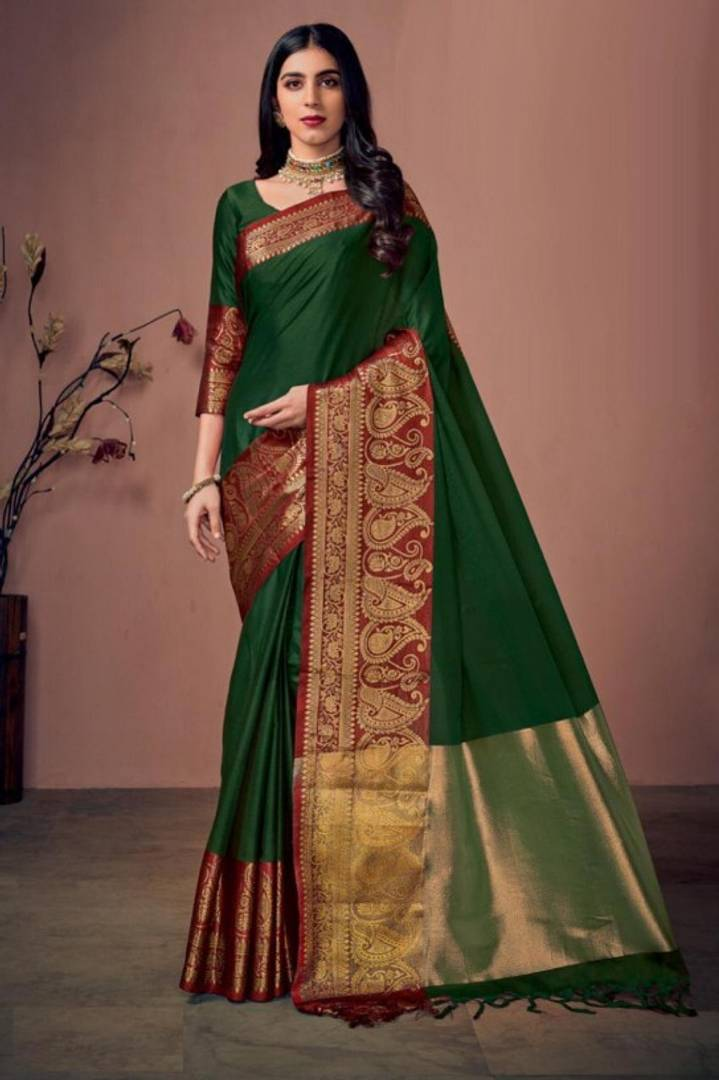 Cotton Silk Saree with Running Blouse and Jhalar