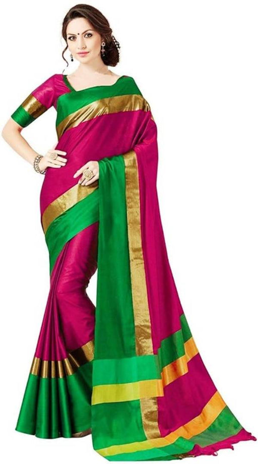 Stylish Cotton Silk Sarees with Blouse