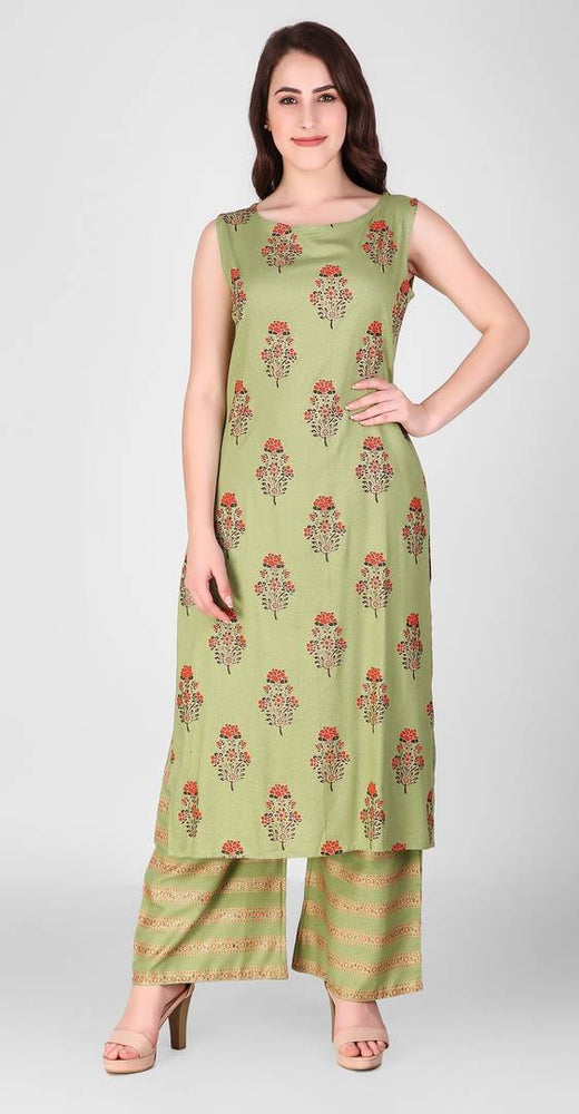 Reliable Green Printed Rayon Women's Kurta Palazzo Set