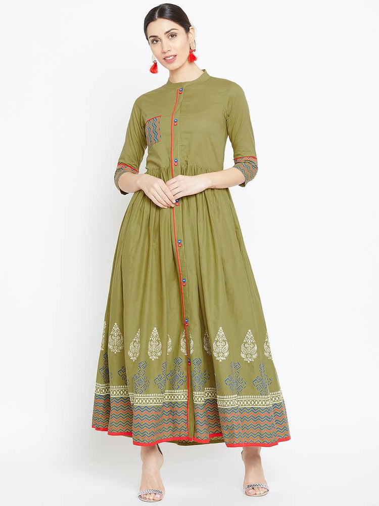 Reliable Green Printed Cotton Cambric Flared Kurti