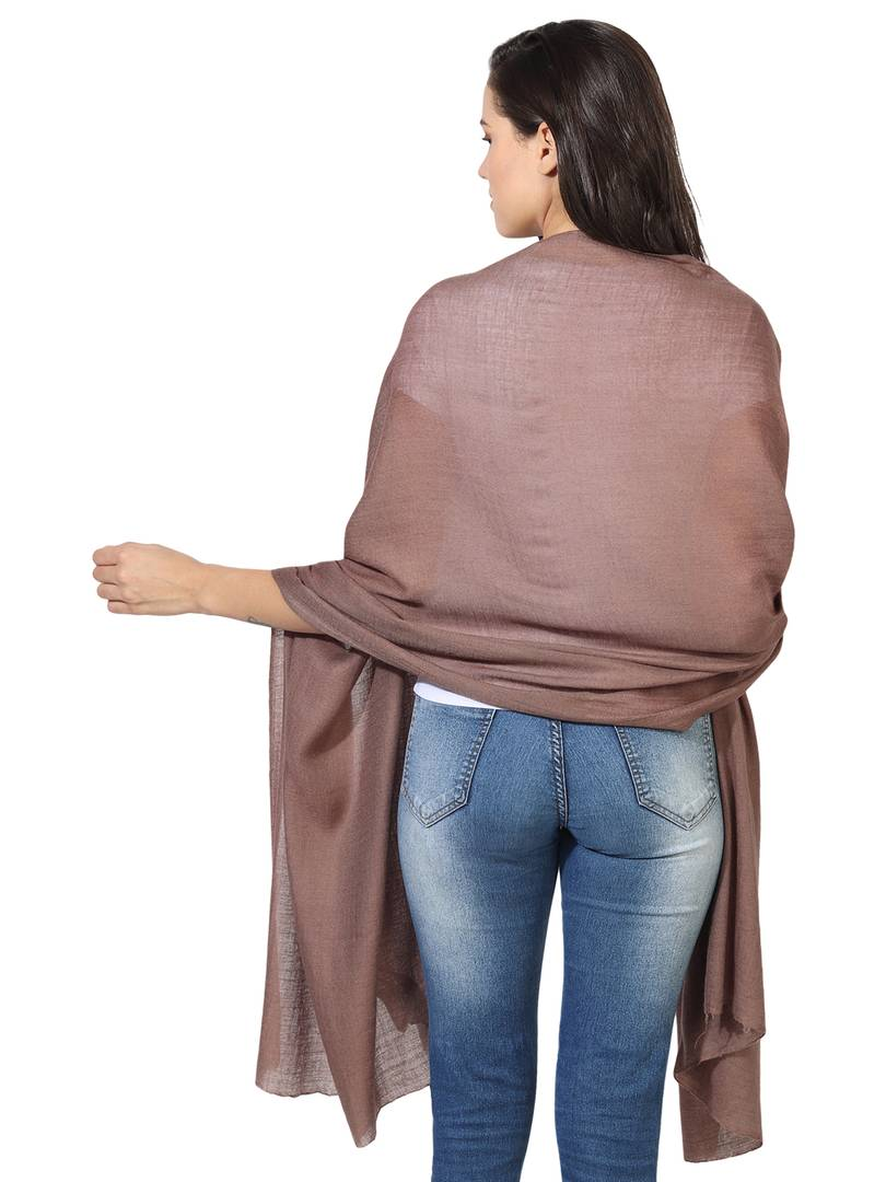 Super Fine Blended Ultra Soft & Warm Wool Silk Unisex Pashmina Shawl,  Stole & Wrap with Hanger (Sandy brown)
