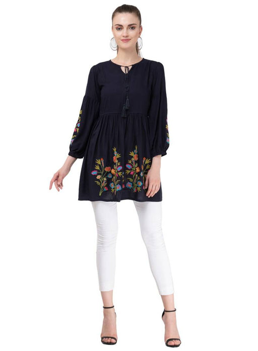 Women's Rayon Navy Blue Embroidery Tunic