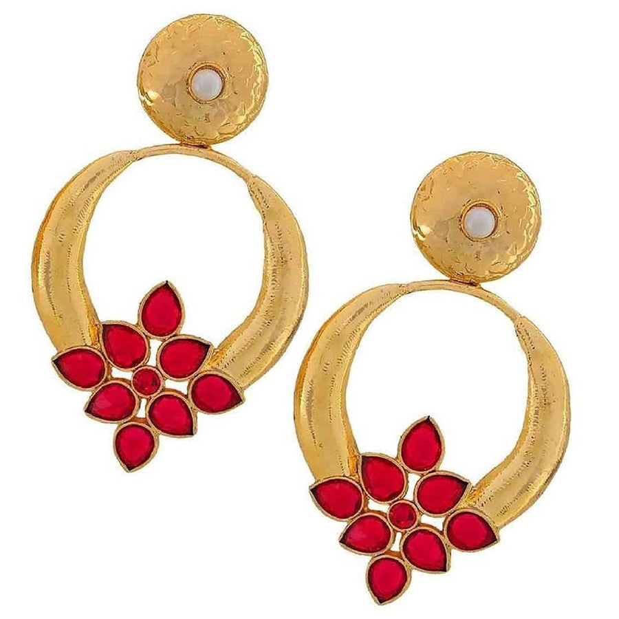 ZIVOM® Red Turkish Flower Antique Gold Plated Turqoise Earring For Women