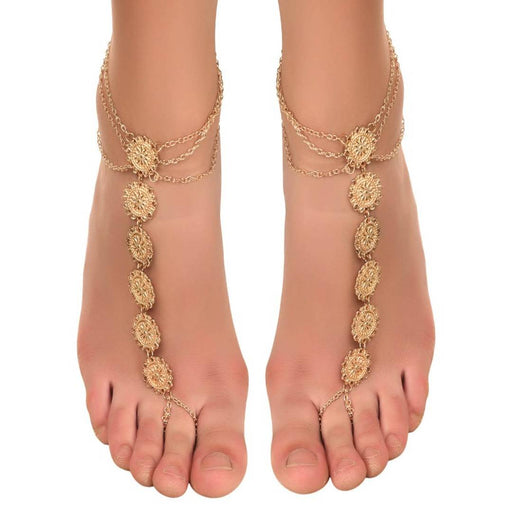 Bohemian coin Golden Toe Ring Anklet (Pair)
