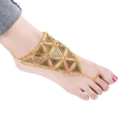 Gold Beach Barefoot Triangular Design Toe Ring Anklet