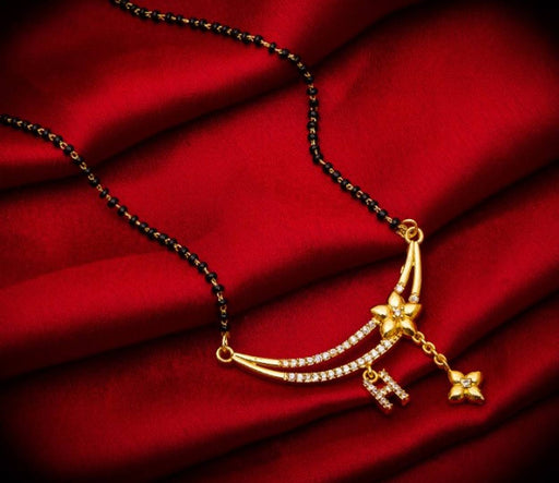 Beautiful Gold Plated Alloy Mangalsutra in Alphabets with American Diamond