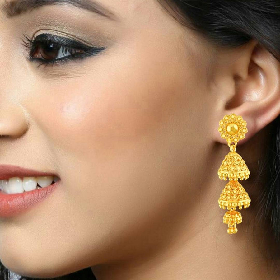 Traditional Jhumki Alloy Gold and Micron Plated Jhumki Earring For Women and Girls