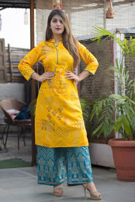 Rayon Gold Printed Kurta With Palazzo Set