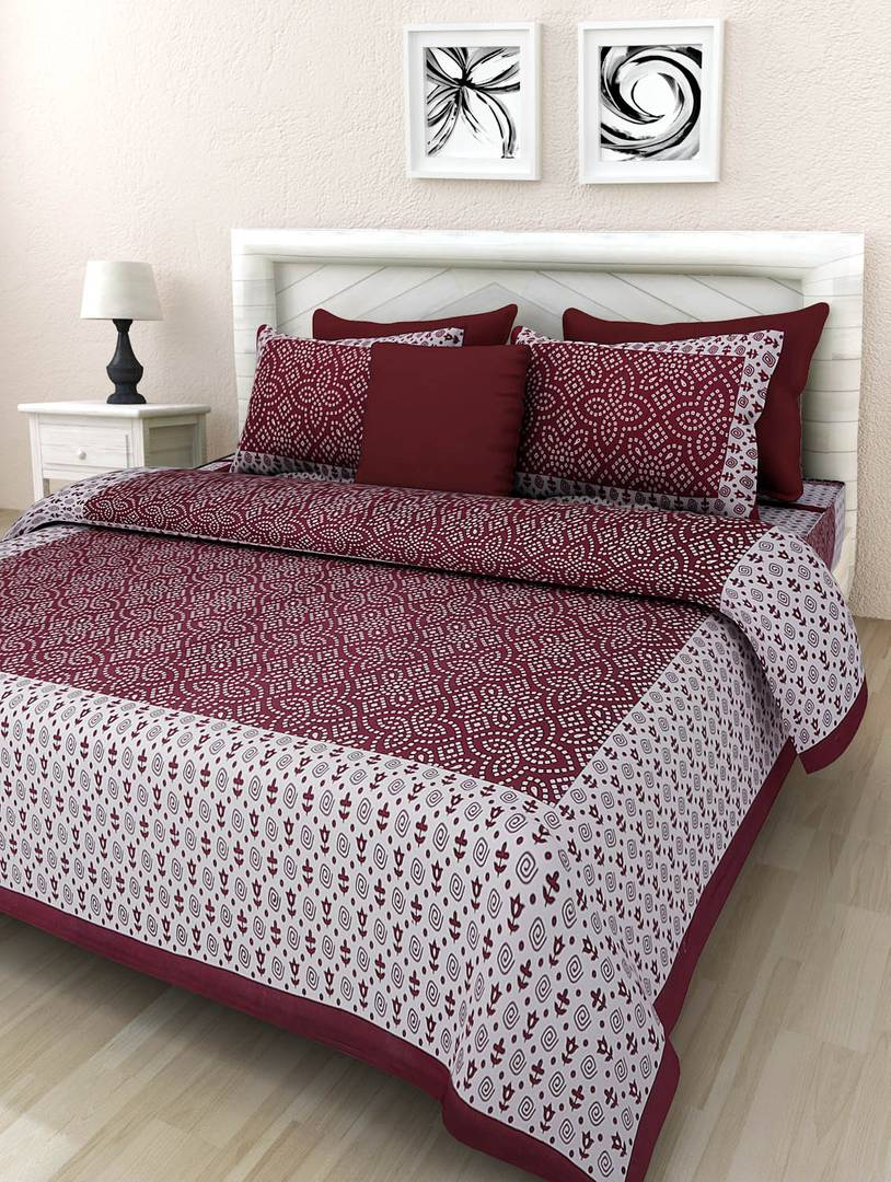 Cotton Print Double Bedsheet With 2 Pillow Cover