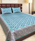 Cotton Printed Double Bedsheet With 2 Pillow Cover