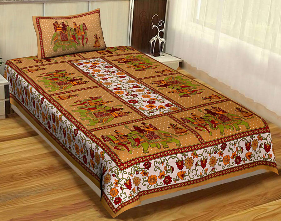 Cotton Print Single Bedsheet With 1 Pillow Cover