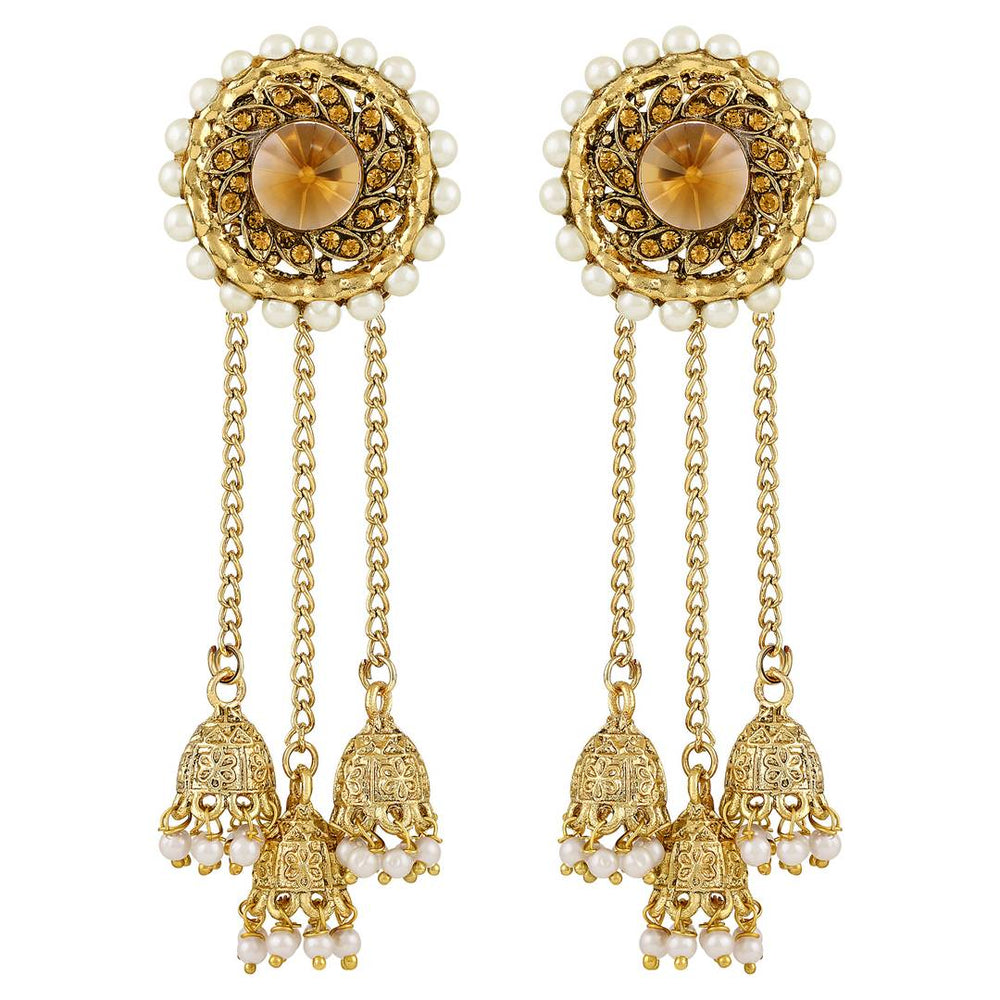 Exotic Flower Design Gold Toned Jhumki Earrings For Women