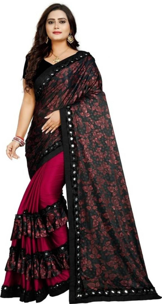 Banglory Maalai Polyester Blend Saree with Blouse Piece