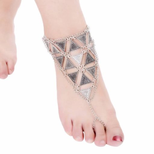 Silver Beach Barefoot Triangular Design Toe Ring Anklet