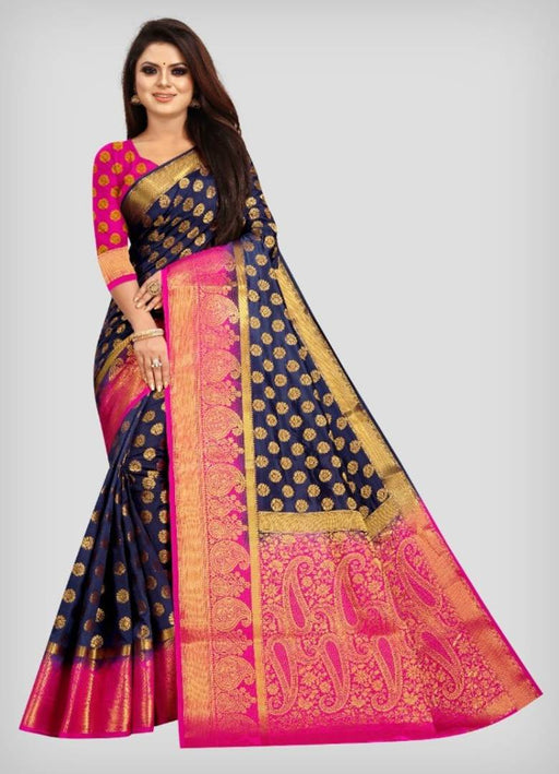 Women's Beautiful Banarasi Silk Saree with Blouse Piece