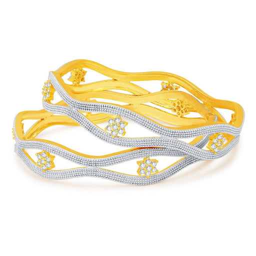 Exquisite Gold And Rhodium Plated Cz Bangles