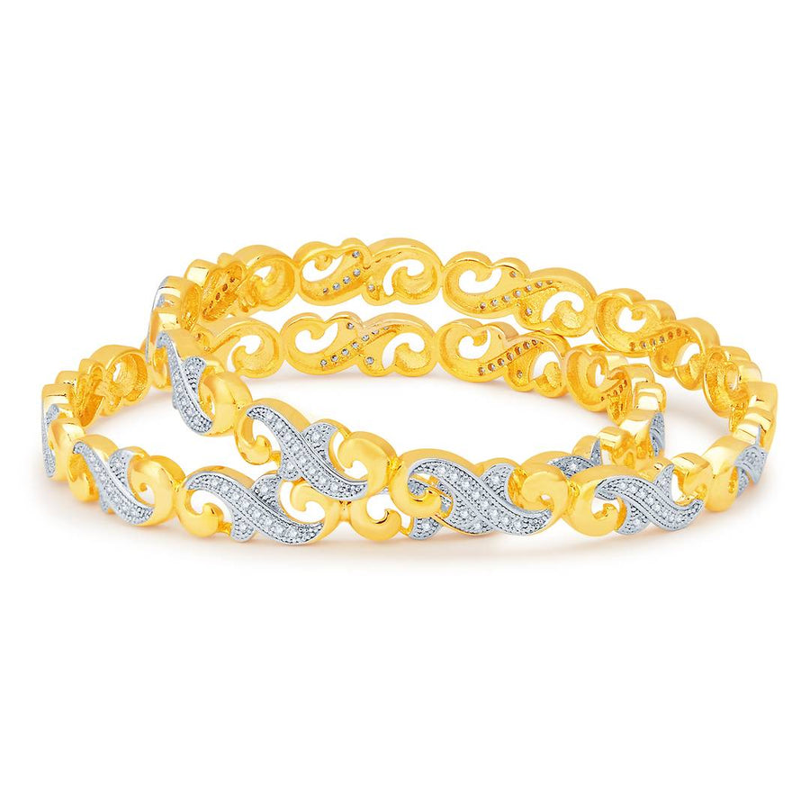 Beguiling Gold And Rhodium Plated Cz Bangles