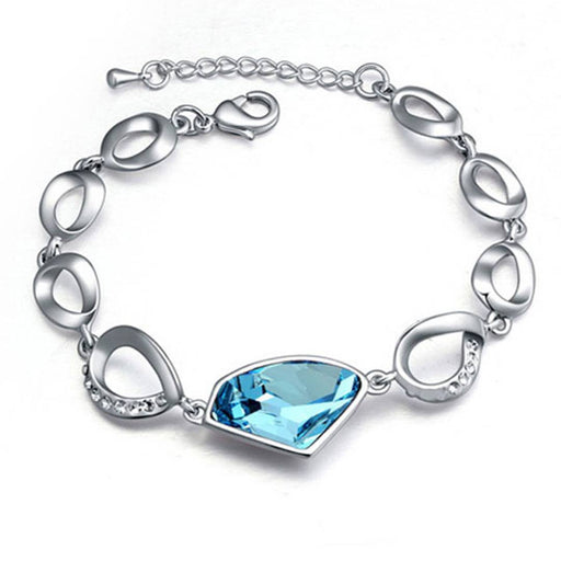 Glimmery Adjustable Crystal Rhodium Plated Aqua Blue Bracelet for Women