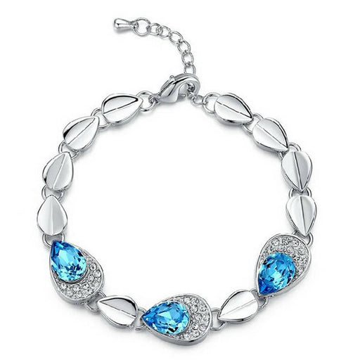 Fashion Pear Crystal Stone Rhodium Plated Aqua Blue Bracelet for Women