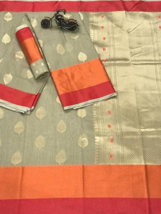 New Trendy Linen Saree with Blouse piece